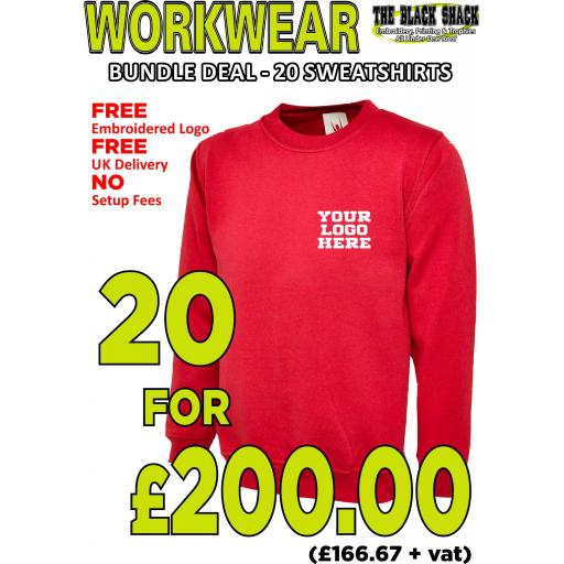 Workwear Bundle - 20 x UC203 Classic Sweatshirts