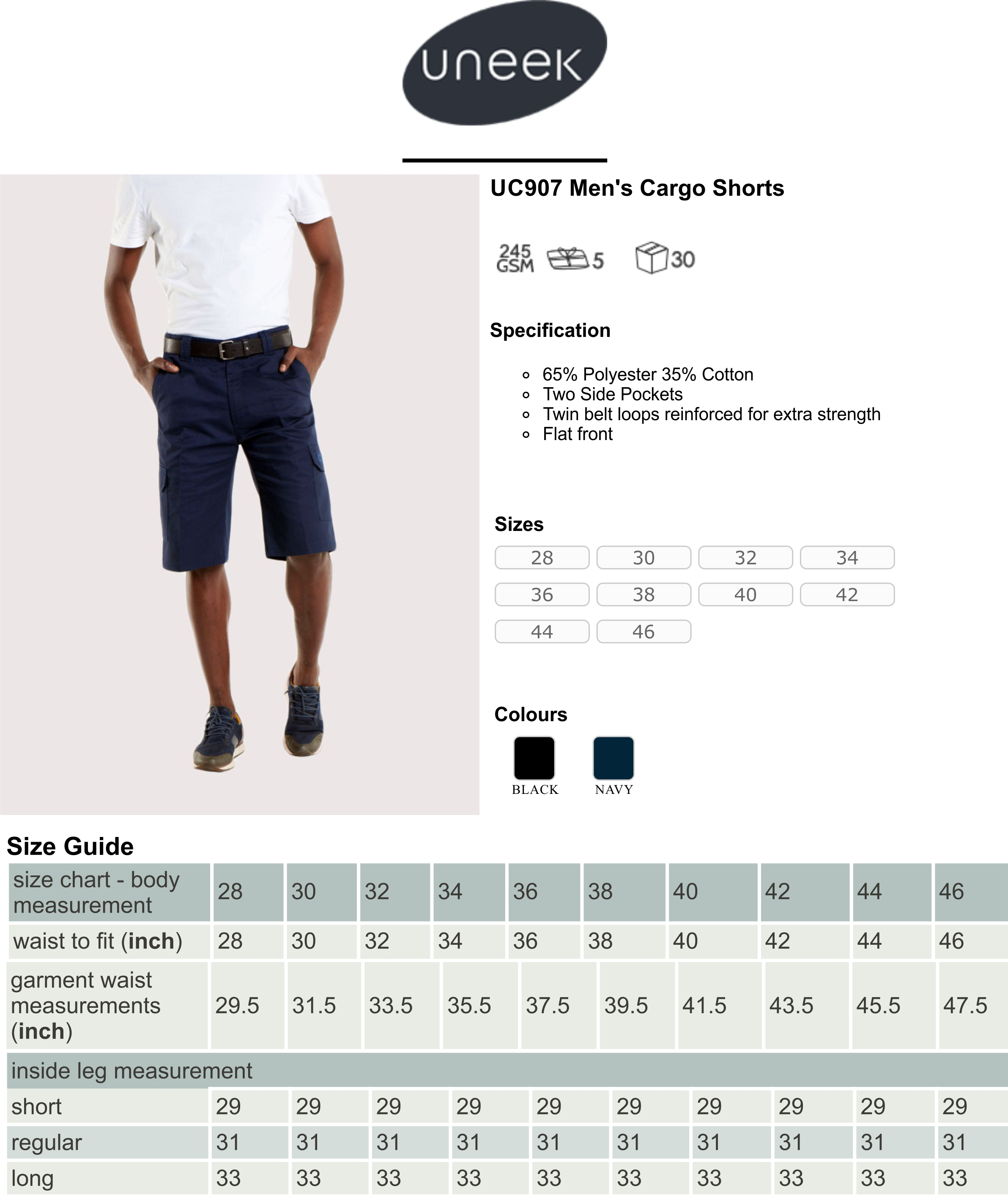 UC907 Cargo Shorts Spec Sheet.jpg