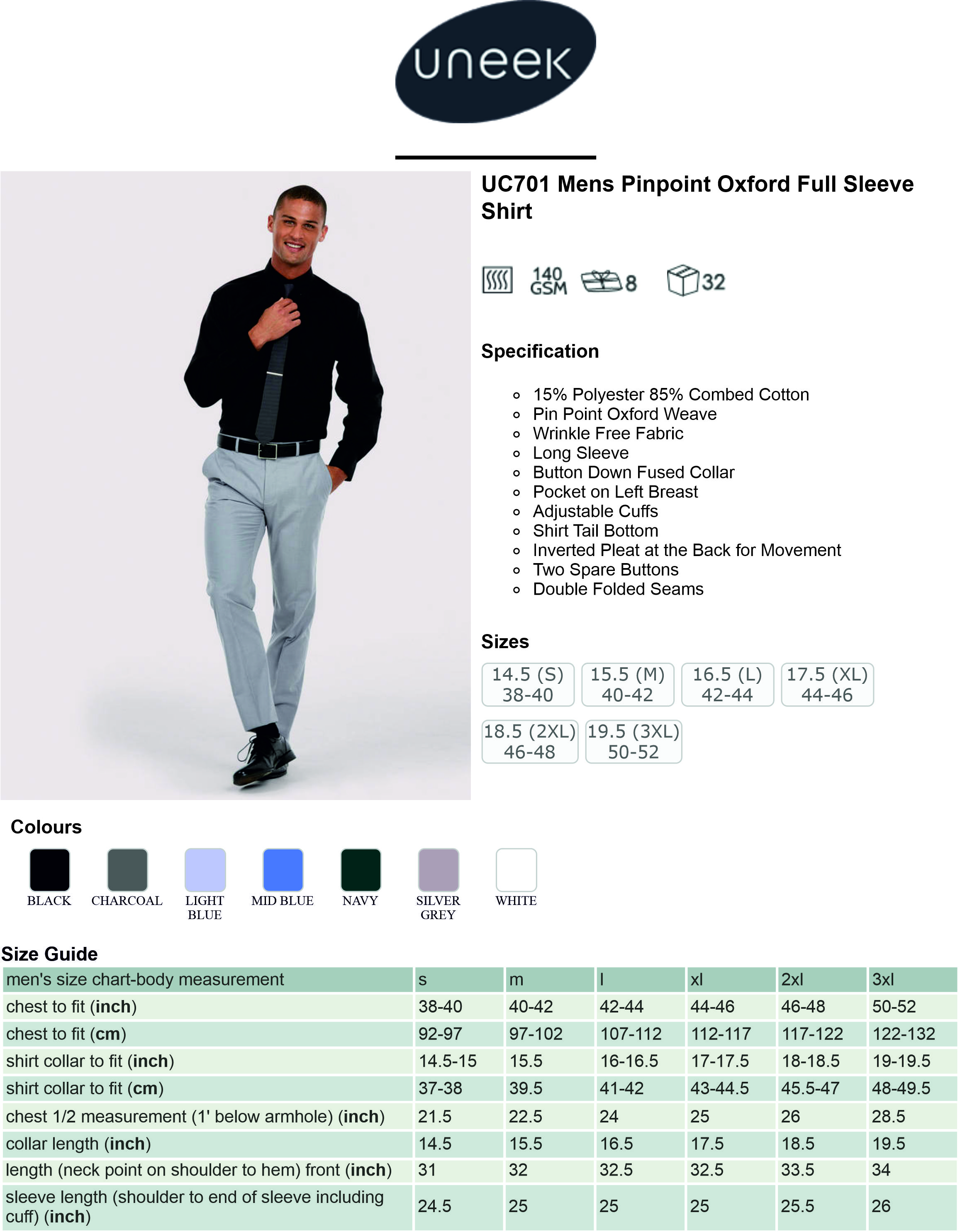 UC701 Mens Pin Point Oxford Full Sleeve Shirt Spec Sheet.jpg