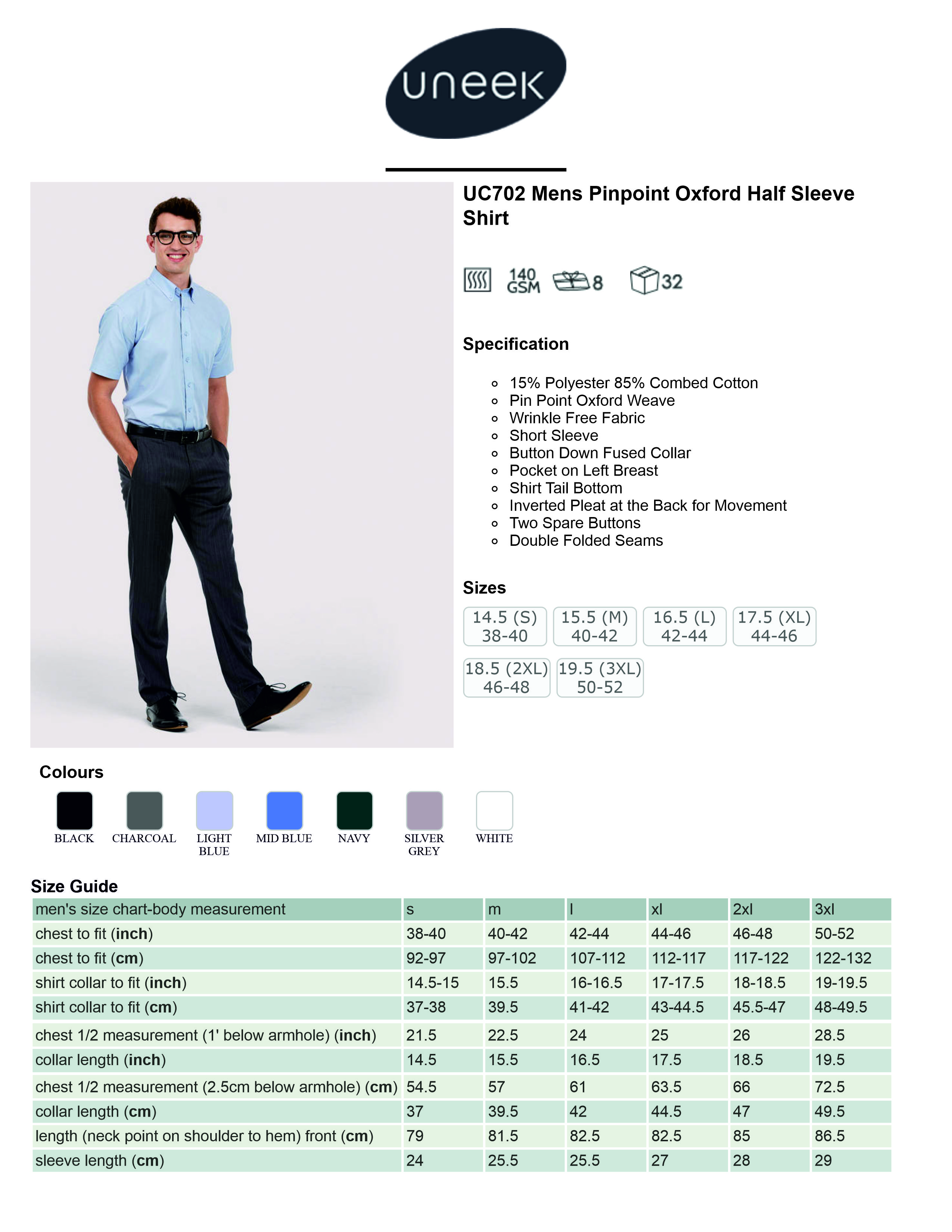 UC702 Mens Pin Point Oxford Half Sleeve Shirt Spec Sheet.jpg